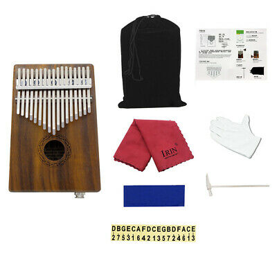 New 17 Keys Kalimba Solid Acacia Thumb Piano Built-in Pickup Speaker I/F A8Y2