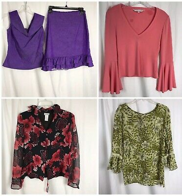 Lot 3 Womens Small P Tops Skirt Suit Inc. Kakcus Nicole Miller Fashion Bug Silk