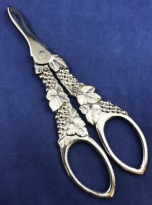 Vintage Royal Berkley Ornate Silverplate Grape Scissors Shears Grape Leaf Design