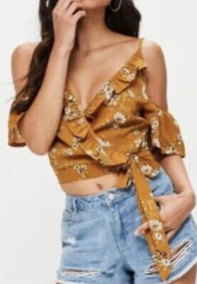 5fe42b33b5848 MISSGUIDED MUSTARD YELLOW Floral Print Wrap Blouse Crop top Cold Shoulder  Ruffl -  12.89