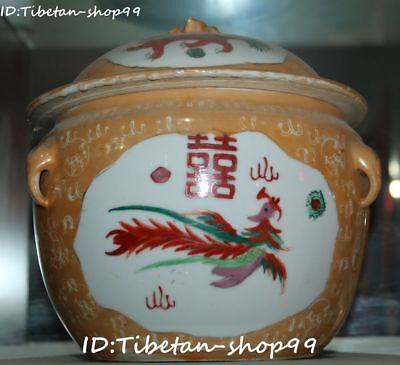 Collect Color Porcelain Dragon Phoenix Bird Flower Tank Pot Jar Crock canister