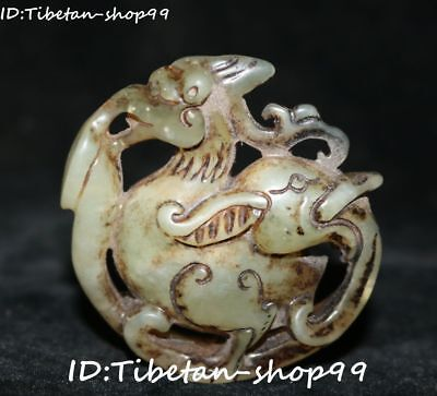 Collect Natural Old Jade Carved Dragon Phoenix Feng Shui amulet talisman Statue
