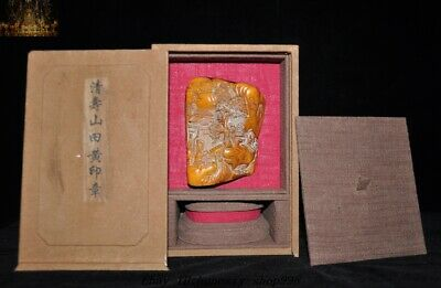 "9""  Top Natural Tianhuang Shoushan Stone Shanzi Old man Seal Stamp Signet Box"