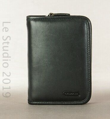 COACH Vintage Black Leather PDA Zippered Cell Phone/Agenda Case