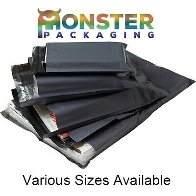 100 Mixed Pack Grey Mailing Postal Bags 58mu - 25 Each Of 6x9 9x12 10x14 12x16