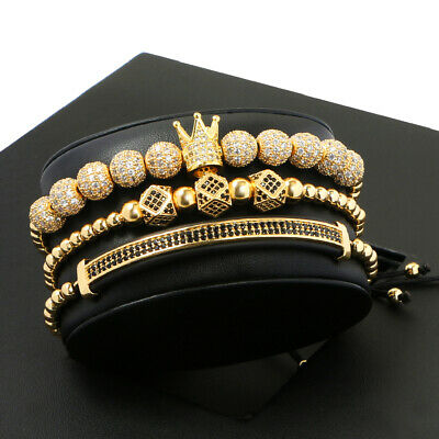Luxury King Crown CZ Balls Charm Beads Bracelets For Women Men 3pcs Adjustable