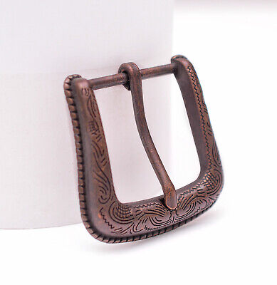 Texas Flower Carved Antique Copper Western Cowboy Buckle fit Leather Belt 1-1/2""