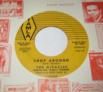 THE MIRACLES - SHOP AROUND / WHO'S LOVIN YOU 45  misprint TAMLA 54034 Gordt