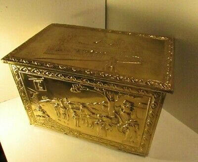 Vintage Hammered Brass Firewood box. Wood lined.