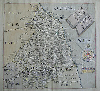Northumberland: antique map by Saxton & Hole, 1637