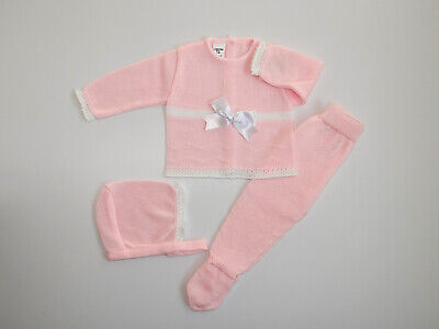 Baby Knit Set Pink & White. Size 3 Months. Made in Spain.