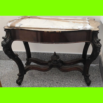 Console Antique Real Wood Period 1940 Marble