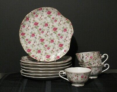 Lot Of 11 Pcs Lefton Pink Rose 7 Lunch Snack Plates & 4 Cups Vintage 1950's Euc