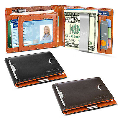Men's Wallet Genuine Leather Money Clip Card Holder RFID Blocking Coin Purse