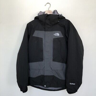 The North Face 2-Tone Gray Hyvent Rain Hooded Jacket Men's Size M used TNF