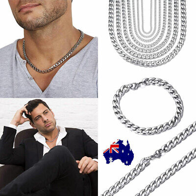 "Men's Boy's Stainless Steel Silver 316L Curb Link Chain Chunky Necklace 18""-30"""