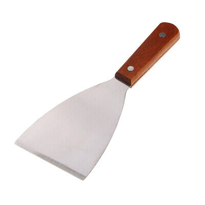 """3"""" Wide Griddle Knife Stainless Steel Putty Knife Wooden Handle Scraper Tool"""