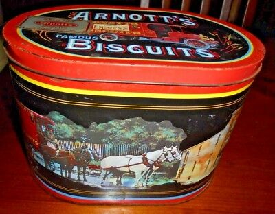 Collectable Arnott's oval shaped Biscuit tin from 1989 ~ Delivery