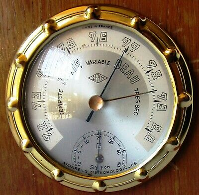 Beautiful Timber and Brass Barometer and Thermometer from SFAM