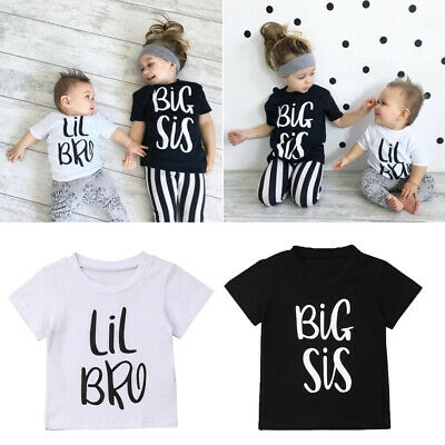 Family Matching T-shirt Big Sister & Littler Brother Boy Girl Cotton Tops Outfit
