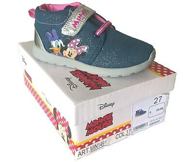 Disney Minnie Mouse Daisy Duck Girls Childrens Quality Trainers Velcro New Boxed
