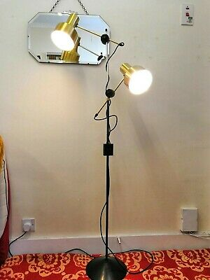 Vintage 1970s Terence Conran Habitat Twin Spot Floor Lamp Black And Brass/ Gold