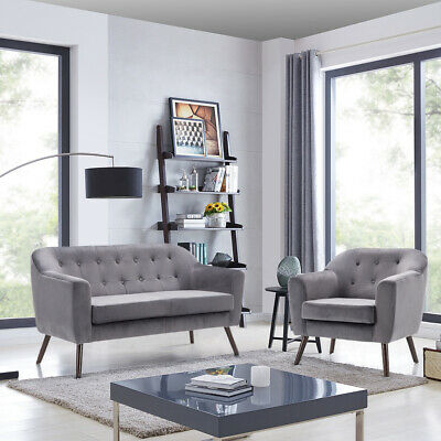 2+1 Seater Sofa Velvet Tufted Accent Love Seat in Grey Tub Armchair Couch Settee