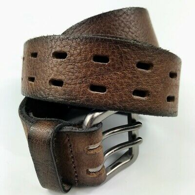 """NEW Marks & Spencer Mens Brown Thick Leather Belt 34-36"""" Double Buckle Holed"""