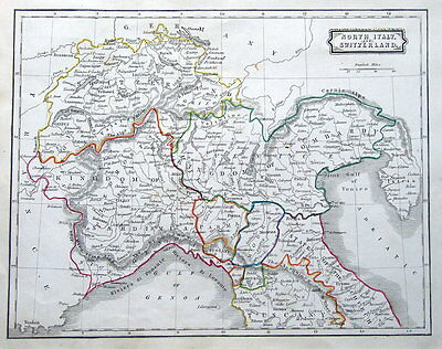 NORTHERN ITALY, SWITZERLAND  D.Blair original antique map 1850