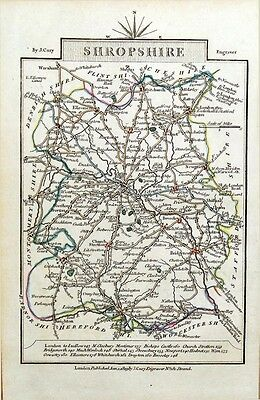 SHROPSHIRE  John Cary Original  Hand Coloured Miniature Antique County Map 1819