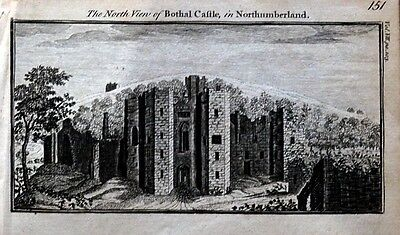 NORTHUMBERLAND MORPETH BOTHAL CASTLE Original Copper Engraved Antique Print 1770