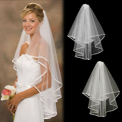 Wedding 2T 2Layer Tier Bridal Veil Enriched with Diamanté Crystals White / Ivory