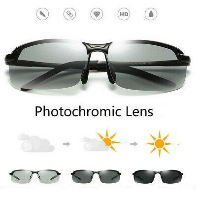 Photochromic Polarised Sunglasses UV400 Polarized Fishing Driving Eyewear Retro
