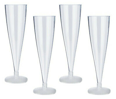 6 10 50 100 Disposable Plastic Champagne Flutes 170ml Wine Glasses  Party Glass