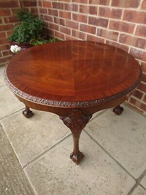 Quality Carved Flame Mahogany Large Circular Coffee Table