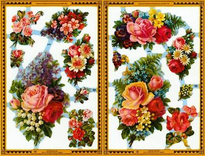 Mamelok Golden Victorian Scraps - Die Cuts - A91 / A92, Roses and Other Flowers.