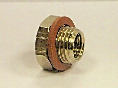 """3/8""""Bspp Male to 1/8"""" NPT Female Reducing Bush Nickel Plated ,Parallel threads"""