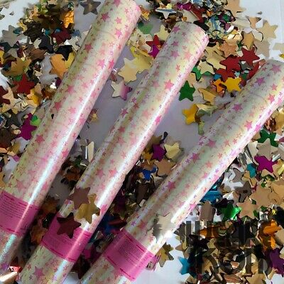 30cm Mixed Foil STARS Confetti Shooter Compressed Air Cannon Party Popper