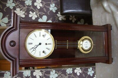 Antique German  Mahogany Long Cased Chiming Pendulum Wall Clock For Repair.