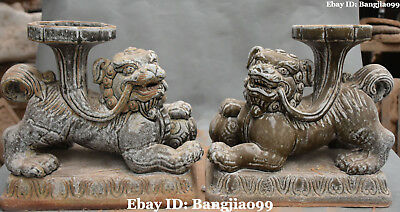 """11"""" Old Chinese Porcelain Ancient Lion Leo Beast Candle Holder Candlestick Pair"""