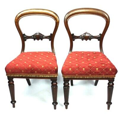 A Pair of Antique Mahogany Balloon Back Chairs - FREE Shipping [5134]