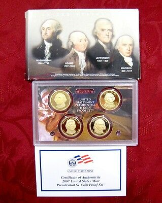 2007 United States Mint Proof $1 Presidential Dollar Set Four (4) Coa