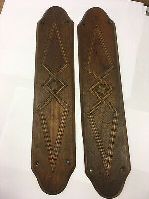 2 Reclaimed Antique Victorian or Edwardian Wood Marquetry Finger Plates RSPCA 6