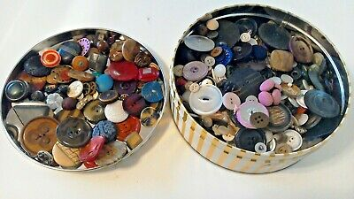 Vintage Button Collection Unsearched Estate Lot Tin Sold As Found 2 + lbs GREAT