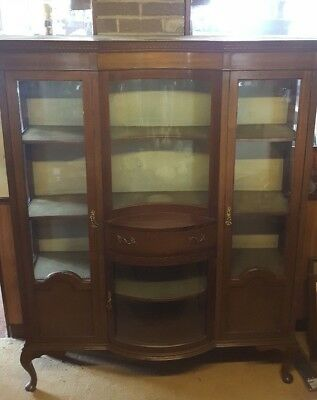 Large Edwardian Bow Fronted Display Cabinet !