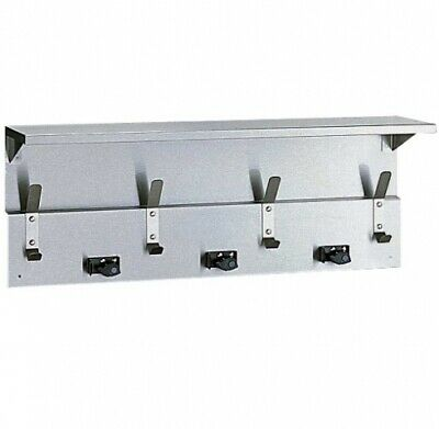 New Bobrick B239 Utility Shelf, 3 Mop and Broom Holders, 4 Hooks - Silver 865Mm