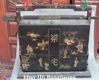 """28"""" Wood lacquerware Ancient People Man Belle Mountain Tuck Box Pastry Boxes"""