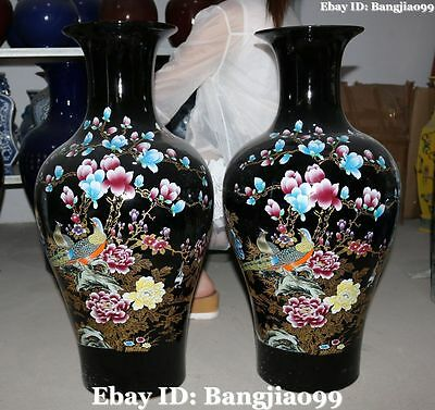"""26""""China Porcelain Ancient Tree Peony Orchid Magpie Bird Flower Vase Bottle Pair"""