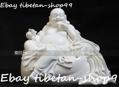 "9"" Chinese Dehua Porcelain Wealth Yuanbao Bag Happy Laugh Maitreya Buddha Statue"