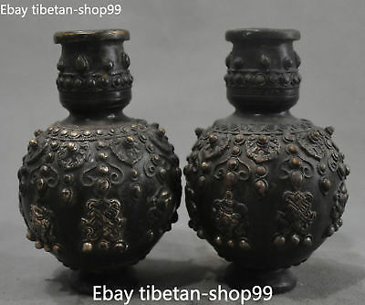 Collection Chinese Old Silver 8 Auspicious Symbol Flower Vase Bottle Pair Statue